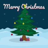Merry Christmas lettering on snowy winter background with Christmas tree. Vector illustration for greeting card. Stock Photo