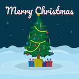 Merry Christmas lettering on snowy winter background with Christmas tree. Vector illustration for greeting card. Stock Photos