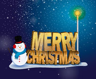 Merry christmas. The lettering on Christmas standing in the snow next to a snowman and night lights glowing on a blue background. Snow falls. Vector illustration Stock Images