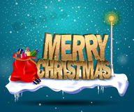 Merry christmas. The lettering on Christmas standing in the snow next to a snowman and night lights glowing on a blue background. Snow falls. Vector illustration Stock Photos