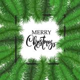 Merry Christmas lettering with tree branches frame, border. Stock Image