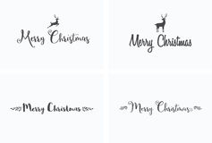 Merry Christmas lettering typography. Handwriting text design wi Royalty Free Stock Images