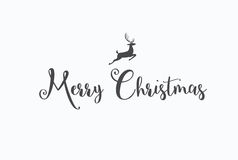 Merry Christmas lettering typography. Handwriting text design wi Royalty Free Stock Photography