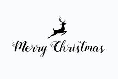 Merry Christmas lettering typography. Handwriting text design wi Royalty Free Stock Photo