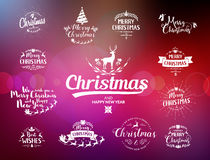 Merry Christmas lettering typography. Handwriting text design wi Stock Images