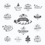Merry Christmas lettering typography. Handwriting text design wi Royalty Free Stock Photos