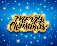 Merry Christmas lettering on vector greeting card Stock Image