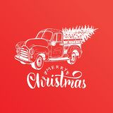 Merry Christmas lettering. Vector hand drawn toy pickup illustration. Happy Holidays greeting card, poster template. Merry Christmas lettering. Vector hand Stock Photos