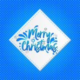 Merry Christmas lettering vector illustration on whita banner with blue background. Merry Christmas Blue lettering vector illustration on white banner with blue vector illustration