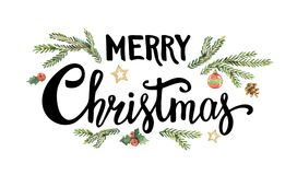 Merry Christmas lettering with watercolor fir branches and holiday decor. Vector Greeting card isolated on white background Stock Images