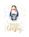 Merry Christmas  lettering with watercolour fun penguin. Merry Christmas lettering with watercolour penguin. New year card Royalty Free Stock Photography
