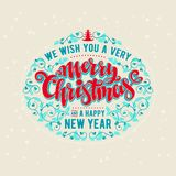 Merry Christmas lettering. We Wish You A Very Merry Christmas And a Happy New Year Vintage Background With Lettering Stock Images