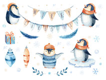 Free Merry Christmas Lettering With Watercolour Fun Pinguin. Royalty Free Stock Image - 79296246