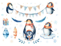 Free Merry Christmas Lettering With Watercolour Fun Pinguin. Stock Photo - 81372990