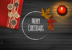 Merry Christmas Lettering On Wooden Board. Realistic Vector Design Stock Photo