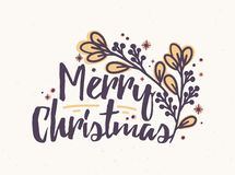 Merry Christmas lettering written with elegant cursive calligraphic font. Handwritten holiday wish decorated with branch royalty free illustration
