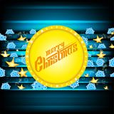 Merry christmas lettering on yellow circle banner and dark-blue background with blue snowflakes and golden stars. Vector christmas stock illustration