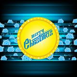 Merry christmas lettering on yellow circle banner nd dark-blue background with blue snowflakes. Vector christmas royalty free illustration