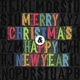 Merry Christmas Letterpress Concept. With Colorful Letters Stock Images