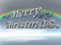 Merry Christmas in letters against sky. Royalty Free Stock Photography