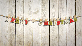 Merry christmas letters on a barn wall Stock Images