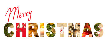 Merry Christmas letters with real different photos Stock Images