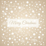 Merry Christmas light brown background with white snowflakes, ve. Merry Christmas  snowflakes vector congratulation card Royalty Free Stock Photos