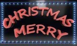 Merry Christmas light frame, 3d render. Ing Stock Photo