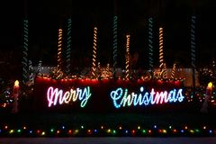 Merry Christmas Lighted Display Stock Photos