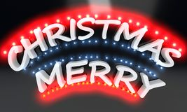 Merry Christmas lighted text, 3d render. Ing Stock Images