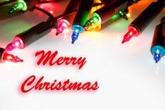 Merry Christmas lights. Christmas lights glowing. Merry Christmas royalty free stock image