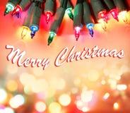 Merry Christmas lights. Christmas lights glowing. Merry Christmas royalty free stock photos