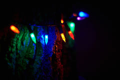 Merry christmas lights decoration. Merry christmas lights beauty of colors lights decoration stock photography