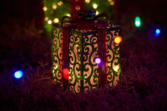 Merry christmas lights gift box. Merry christmas lights beauty of colors lights gift box royalty free stock images