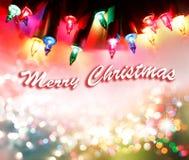 Merry Christmas lights. Christmas lights glowing. Merry Christmas stock image