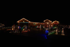 Merry christmas lights house. Merry christmas lights beauty of colors lights house decoration royalty free stock photography