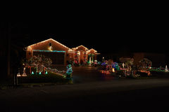 Merry christmas lights house. Merry christmas lights beauty of colors lights house decoration royalty free stock photos
