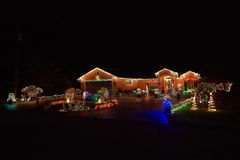 Merry christmas lights house. Merry christmas lights beauty of colors lights house decoration royalty free stock photo