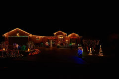 Merry christmas lights house. Merry christmas lights beauty of colors lights house decoration stock images