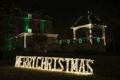 Merry Christmas Lights. Outdoor lawn decoration, Merry Christmas royalty free stock photography
