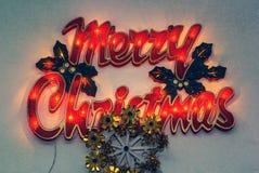 Merry Christmas lights sign. Sample stock photo