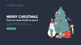 Merry Christmas line art banner design for corporate holiday greetings. Vector web banner concept with people decorating Christmas royalty free illustration