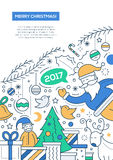 Merry Christmas - line design brochure poster template A4. Merry Christmas and happy New Year 2017 - vector line design brochure poster, flyer presentation Stock Photos