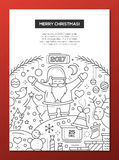 Merry Christmas - line design brochure poster template A4. Merry Christmas and happy New Year 2017 - vector plain line design brochure poster, flyer presentation Royalty Free Stock Photos