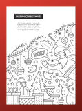 Merry Christmas - line design brochure poster template A4. Merry Christmas and happy New Year 2017 - vector plain line design brochure poster, flyer presentation Stock Images