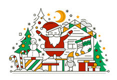 Merry Christmas - line design card Stock Images