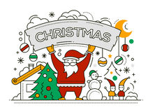 Merry Christmas - line design card Royalty Free Stock Photography
