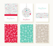 Merry Christmas line icon patterns background card. Merry christmas set of line icon seamless patterns with outline xmas ornaments and font templates. Ideal for Royalty Free Stock Photos