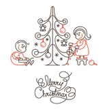 Merry Christmas line lettering design and image on white background. Stock Photos