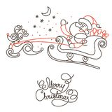 Merry Christmas line lettering design and image on white background. Royalty Free Stock Image